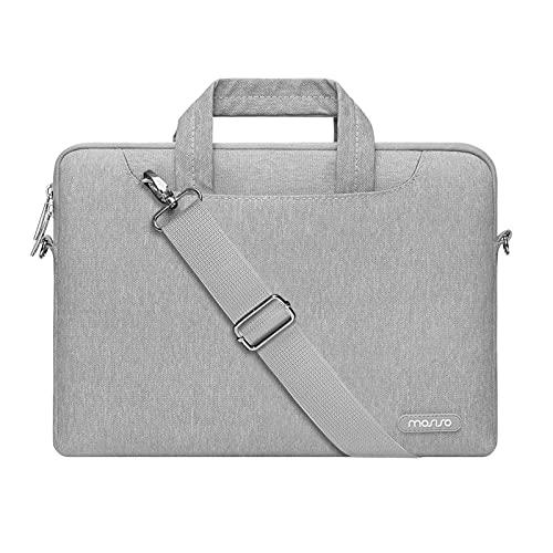 MOSISO Maletin para Portatil Compatible con 13 Pulgadas MacBook Pro/MacBook Air, 13-13,3 Pulgadas Computadora Portátil,Bolso de Hombro con Bolsillo Trasero con Cremallera y Correa, Gris