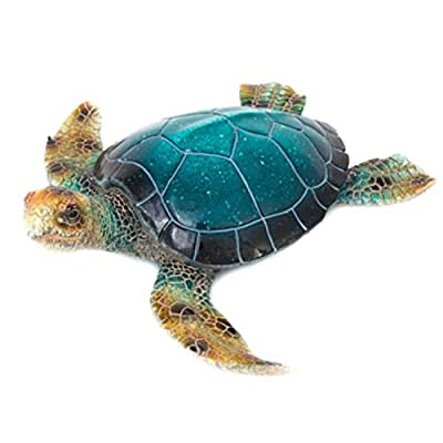 Corner Merchant Sea Turtle Statue Outdoor Seaside Wall Hanging and Garden or Table Wall Sculpture Polystone Measures 15 in