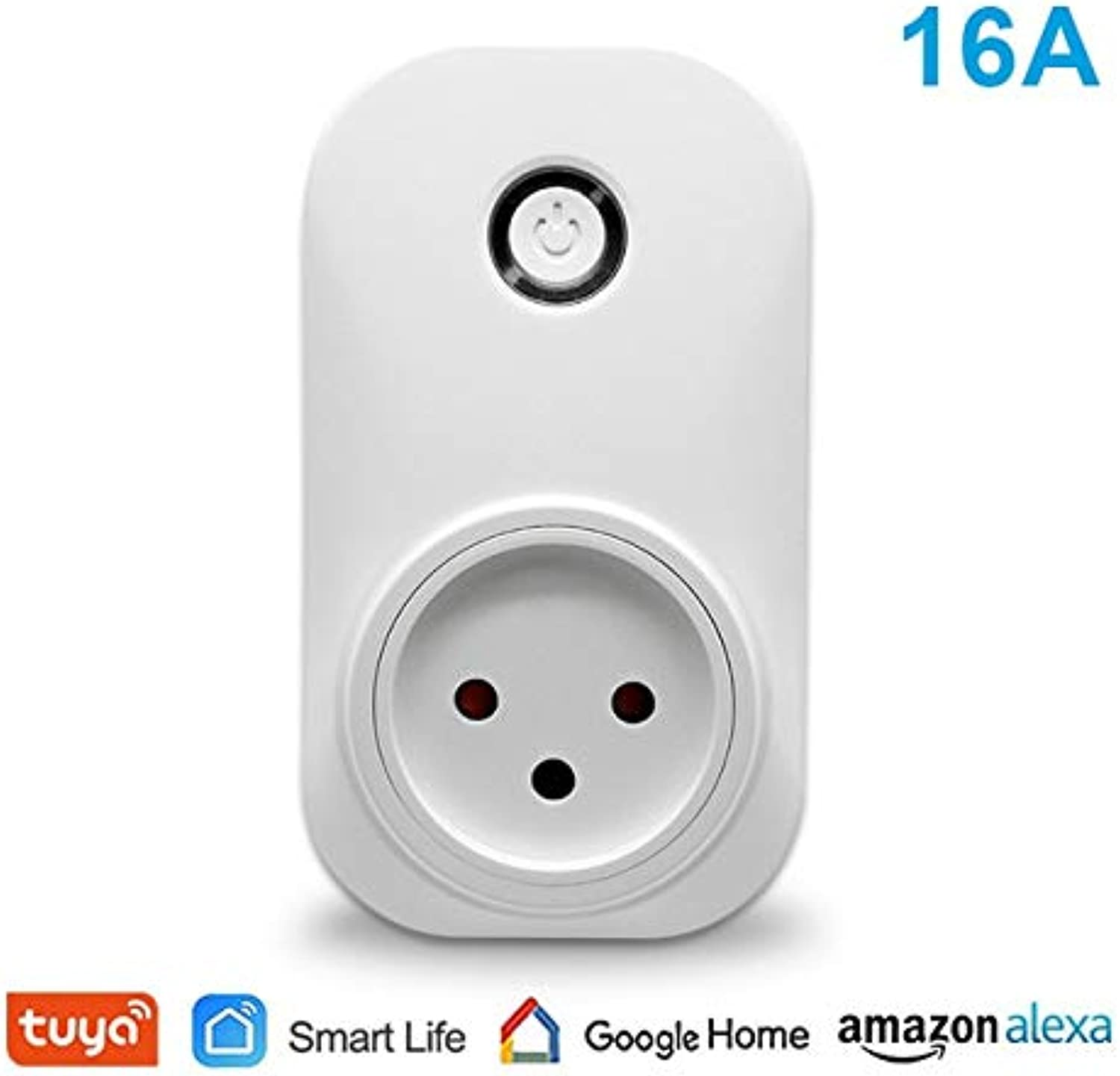 WiFi Socket Israel Type 16A 3500W Plug App Remot Control Lamps or Devices and Timer Voice Control with Google Home Alexa Echo  (color  1 pc WiFi Socket)