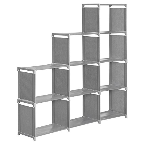 INLYF 4-tier Storage Cube Closet Organization System, 9-cube DIY BookShelf Cabinet Without Door for Clothes, Toys, Books and Shoes