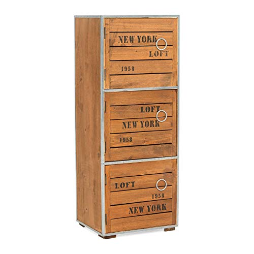 PureDay Armoire 3 casiers en bois style New York Loft 285 x 71 cm