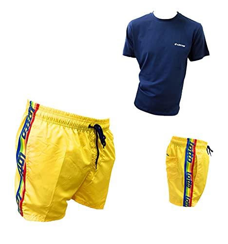 Lotto Bañador para hombre + camiseta de regalo, pantalones cortos de baño, pantalones cortos de baño, tallas conformadas 48408 Amarillo + Camiseta Azul XL
