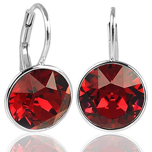 NOBEL SCHMUCK Silberohrringe Rot mit Kristallen von Swarovski® 925 Silber - schlicht modern