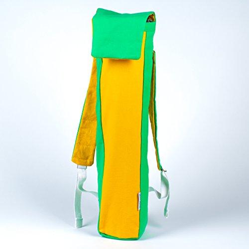 Esterilla de yoga tote/mochila bolsa (ideal para ciclismo para Yoga.), Green / Yellow