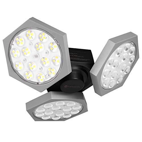LED Garage Light, YUNLIGHTS 11000LM Ultra Bright 90W 6500K E26/27 Trilights Garage Ceiling Lights, Deformable Garage Light Bulb with 3 Adjustable LED Panels for Warehouse, Basement, Garage Lighting