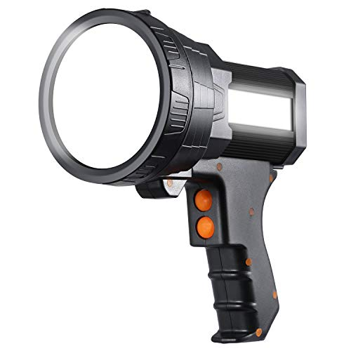 Bursvik Super Bright Spotlight,6000 Lumen LED Handheld Flashlight with Tripod,Long Lasting Searchlight with USB Output,IPX4 Waterproof Lightweight Rechargeable spotlight flashlight(Black)