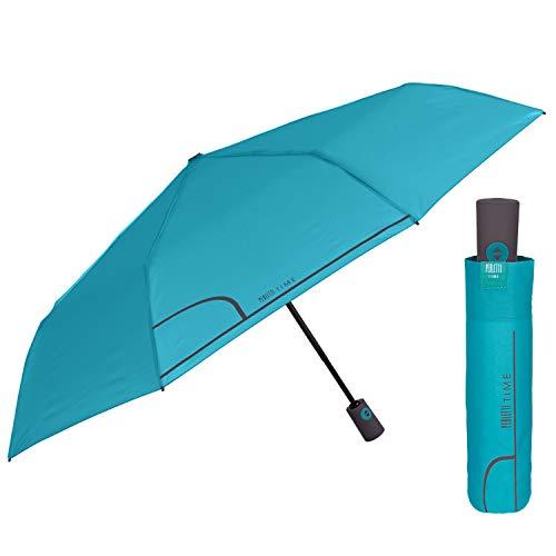 Regenschirm Taschenschirm Damen Einfarbig Auf Zu Automatik - Reiseschirm Frauen Klein Sturmfest Windproof Farbig - Mini Schirm Kompakt Mädchen mit Automatischer Öffnung - Perletti (Türkis)