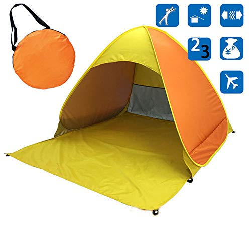 IHCIAIX Ship From Beach Tent Ultralight Folding Tent, Pop Up Automatic Open Tent, Family Tourist Fish Camping Fully Sun Shade,yellow,CHINA