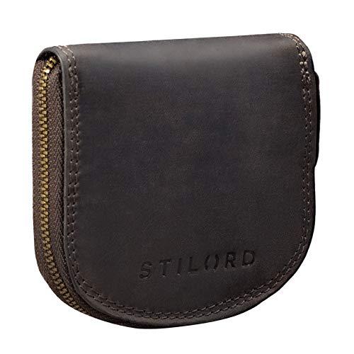 STILORD 'Cash' Mini Portafoglio Uomo Pelle Vintage Portamonete Slim Wallet Mini Scatola Portafoglio Piccolo in Pelle, Colore:marrone scuro