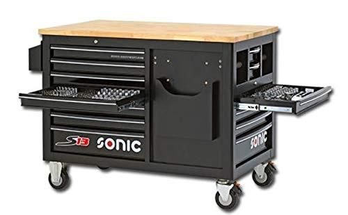 Sonic Werkstattwagen S13 Work Trolley gefüllt, 290-teilig, Schaum, schwarz