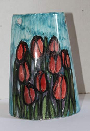 Tulipanes, flores- Teja de cerámica hechas a mano, base cm 10.8 y alt