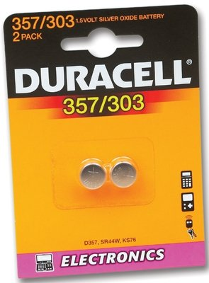 Battery, Duracell D357H Pk2 (444-6525)