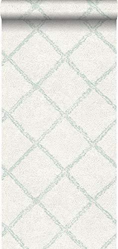behang oosters berber tapijt vergrijsd mintgroen en wit - 148665 - van ESTAhome
