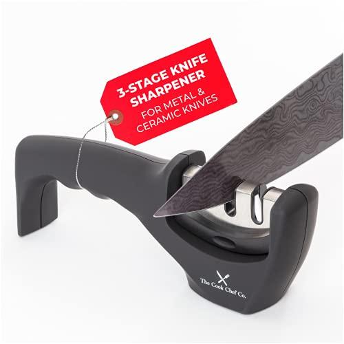Knife Sharpener - Handheld Kitchen Chef's 3-Stage Sharpener for Metal & Ceramic Knives - With...