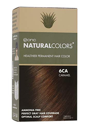ONC NATURALCOLORS (6CA Caramel) 4 fl. oz. (120 mL) Healthier Permanent Hair Dye with Certified Organic Ingredients, Ammonia Free, Vegan Friendly, 100% Gray Coverage