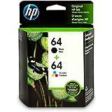 HP 64 | 2 Ink Cartridges | Black, Tri-color | N9J90AN, N9J89AN