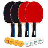 Peridot Sports Ping Pong Paddles Set of 4, Table Tennis Paddles and Balls, 4 Premium Pro Paddles with ITTF Approved Rubber; 8 Premium 3-Star Rating ABS Balls; Portable Storage Bag; Indoor or Outdoor