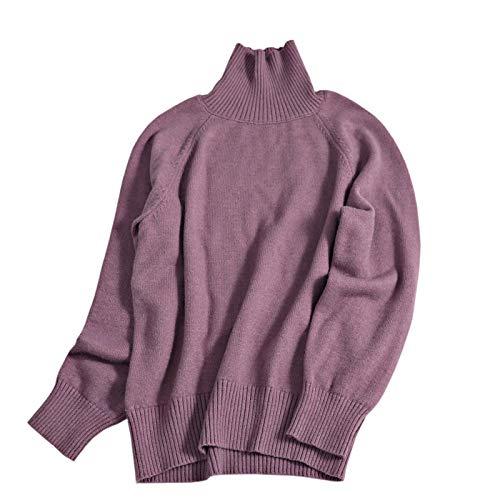 Moda Sudaderas Jersey Sweater Mujeres Suéter De Cuello Alto De Gran Tamaño Jerseys Cálidos Suéter De Manga Larga Suelta Suéter OneSize Purple9118