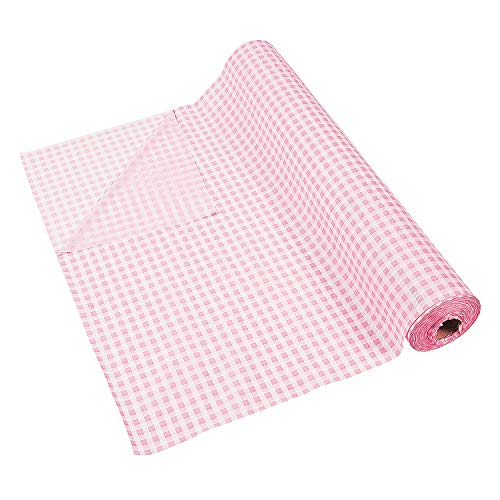 Pink Gingham Tablecloth Roll - 100 feet Pink and White Checkered - Party Decor