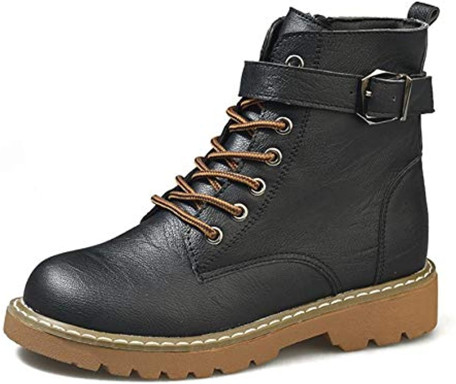 Meimeioo Womens Lace up Round Toe Low Heel Short Martin Boots Buckle Ankle Bootie