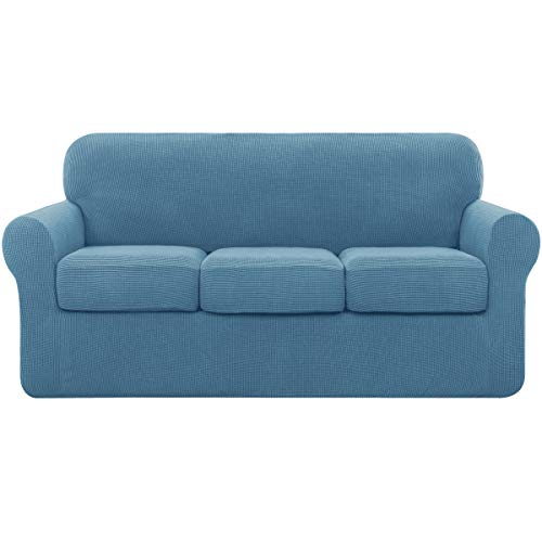 subrtex 3 Plazas Funda de Sofá de con 3 Cojines de Asiento Separados de Alta Elasticidad para Sillón Anti Arañazos Protector de Muebles Lavables (3 Plazas, Azul Denim)