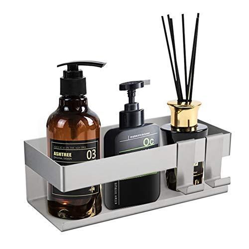 Estante de baño autoadhesivo, porta jabón para ducha, portaobjetos, nano adhesivo anticaída, portaobjetos de acero inoxidable, apto para baño y cocina (gris)