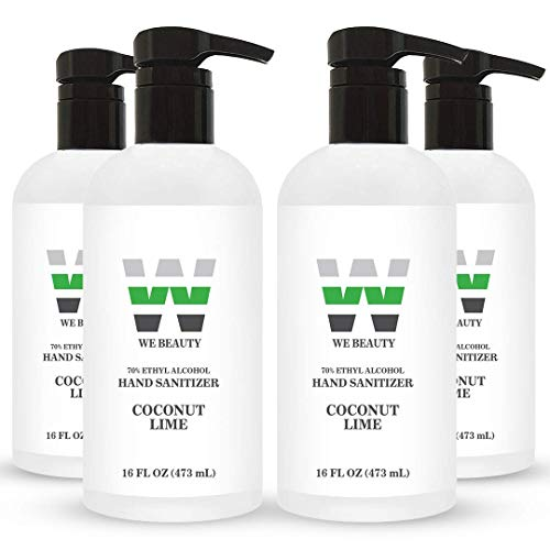 We Beauty Hand Sanitizer Gel from Gallon to Hand sanitizer Travel Size. 70% Ethyl Alcohol-Based- Caps or Pump Hand Sanitizer (16 Ounce with Pump - 4-Pack, Coconut Lime)