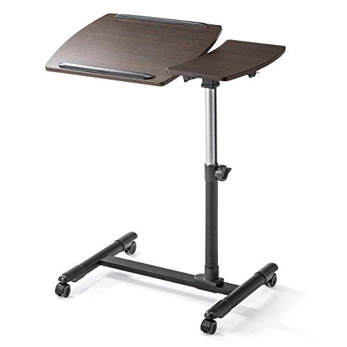 サンワダイレクト ノートパソコンスタンド ベッド ソファ サイドテーブル A3対応 角度&高さ調節可能 マウス・コップ用サイド天板付 木目調 100-DESK040M