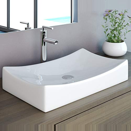 NEG Waschbecken Uno92A (eckig) Aufsatz-Waschschale/Waschtisch mit geschwungenem Rand und Nano-Beschichtung