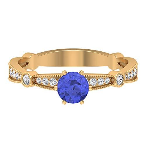 Anillo de tanzanita, piedras preciosas redondas de 0,69 quilates, anillo de promesa de solitario de 5 mm, anillo de compromiso de 6 puntas, joyería de oro para ella, 14K Oro amarillo, Size:EU 58