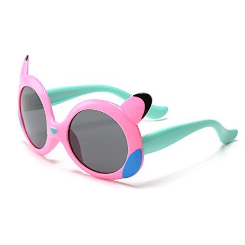 Y-WEIFENG Diseño de Dibujos Animados para niños Gafas de Sol Marco Flexible de Gel de sílice Lentes polarizadas Protección UV400 Niños y niñas de 3 a 12 años con Caja de Regalo (Color : Rosado)