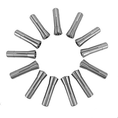 LLDSIMEX 65Mn Material 13Pc R8 Precision Round Spring Collet Set 1/8-7/8 x 1/16Ths