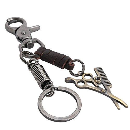 Aundiz Versilber Llavero tijeras peines Barbier llavero marrón 15,2 cm de largo 3,5 cm de ancho para unisex