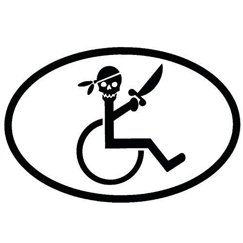 Pegatina Promotion Strichmännchen Pirat mit Säbel im Rollstuhl oval 20 cm Aufkleber Sticker Autoaufkleber Wandtattoo Surf Kite Surfen Wassersport Fun Sea