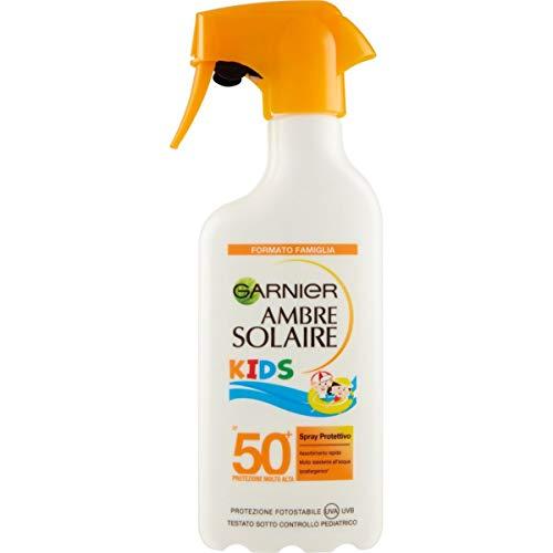 Garnier Ambre Solaire Kids Spray Protettivo IP 50+, Protezione Molto Alta per Bambini, Idratazione 24H, Maxi formato, 300 ml
