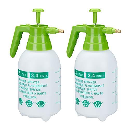 Relaxdays 2 x Drucksprüher, 1,5 Liter, einstellbare Messingdüse, Garten, Bewässerung, Schädlingsbekämpfung, PE, weiß/grün