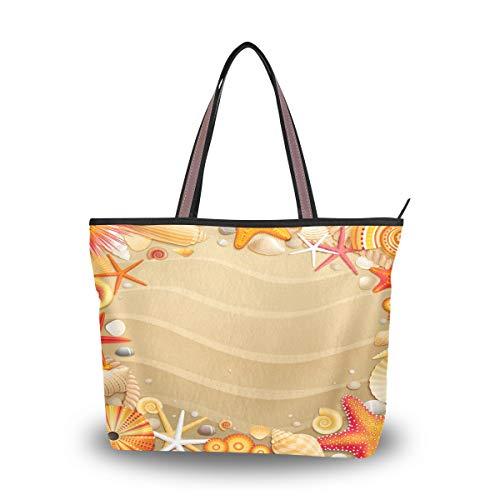 Emoya Damen Handtasche Tropischer Strand Sandmuscheln Seestern Tragegriff Schultertasche Umhängetasche M, Mehrfarbig - multi - Größe: Large