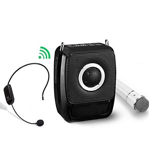QCHEA Sistema PA portátil, Sistema de Altavoces PA con micrófono Bluetooth, Amplificador de Voz inalámbrica 25 vatios Altavoz Fuerte para presentación, enseñanza, Actividades al Aire Libre, etc.