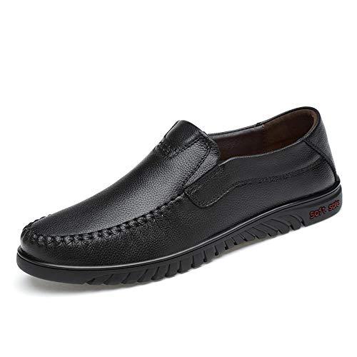 F-jiuyue, Zwart OX Lederen Oxford Schoenen Voor Heren Ronde teen Formele Schoenen Slip Op Stijl Lage Top Ademende Deodorant