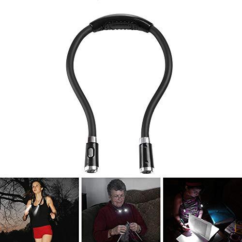 LED-Leselampe für Hals, Nachttischlampe, Freihand, 3 Helligkeitsstufen, einstellbar, flexibel, mit 2 AAA-Batterien betrieben, für Lesen, Sport, Laufen und Aktivitäten - schwarz