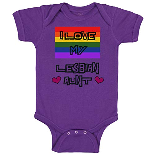 Custom Baby Bodysuit I Love My Lesbian Aunt with Gay Flag LGBTQ B Funny Cotton Boy & Girl Baby Clothes Purple Design Only Newborn