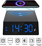 Number-One Wireless Charging Alarm Clock, 2-in-1 LED Digital Alarm Clock with Qi Wireless Charger, Snooze, 4 Brightness, Dual Alarm for iPhone 8, 8 Plus, X, XS, XR & All Qi Charging Enabled Devices