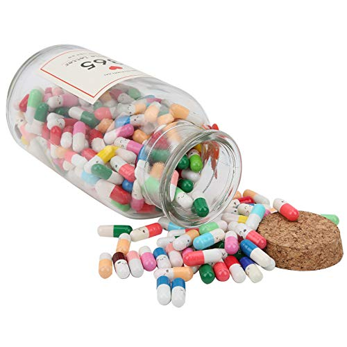 Botella de deseos con letras en cápsula, botella de colores mixtos de 365 piezas, vidrio para regalos Chilrden Kids Silent Expression(1 word bottle)