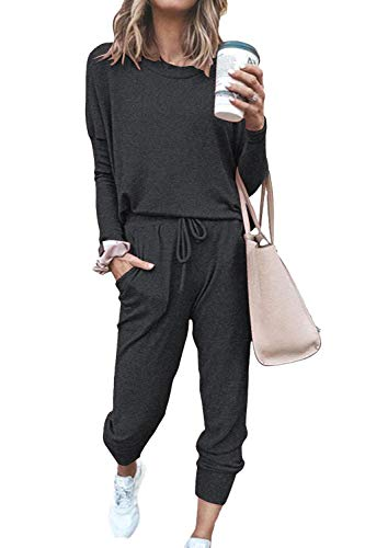 Fixmatti Women Casual 2 Piece Outfits Jumpsuit Shirt Long Pant Sweatsuits Grey L