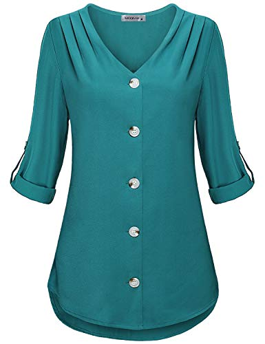 MOQIVGI Dress Shirt for Women Work Casual,Button Up Long Sleeve Vneck Office Cyan Chiffon Tops Ladies Fashion 2020 Lightweight Airy Soft Tunic Blouses Medium