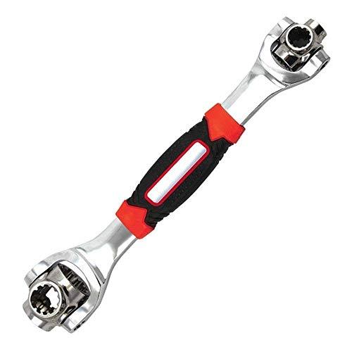 tiger wrench Schlüssel 48 in 1 TOOLS Steckschlüssel-funktioniert mit Spline-Schrauben TORX 360 Grad 6-Kant Universal Möbel Auto Reparatur (Rot)