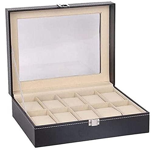 T.T-Q 10 caja de reloj de cuero Cajas para relojescaja de colección de exhibición caja de joyería de regalo de cumpleaños para novio para almacenamiento y visualización 25 * 20 * 8 cm