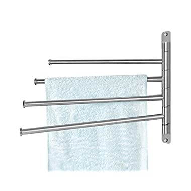 Easeurlife Wall Mounted Towel Rack Stainless Steel Towel Bar Swing Arm Washcloth Holder for Bathroom Brushed Extra Long Poles, Silver (4 Arm)