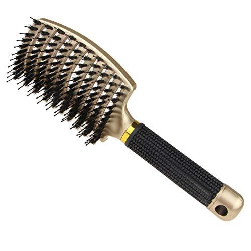 Brosse à cheveux en poils de sanglier, brosse à cheveux démêlante épaisse courbée et aérée Massage antistatique confortable et durable