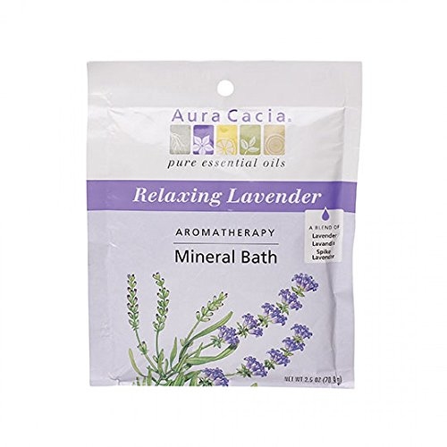 Aura Cacia Aromatherapy Mineral Bath, Relaxing Lavender, 2.5 ounce packet (Pack of 3)